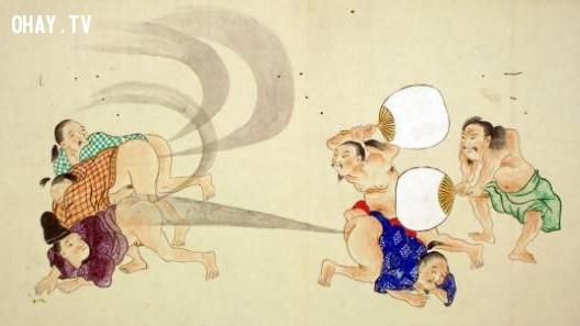 ''Đánh rắm nhau'' là một trò chơi phổ biến ở Nhật Bản thời kì EDO,sự thật thú vị,sự kiện hài hước