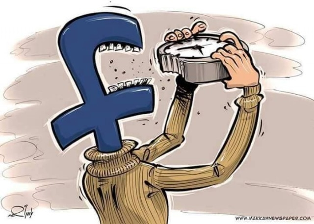 Facebook đang dần dần ngốn nghiến thời gian của bạn.,cuộc sống,suy nghĩ,biếm họa,gốc khuất
