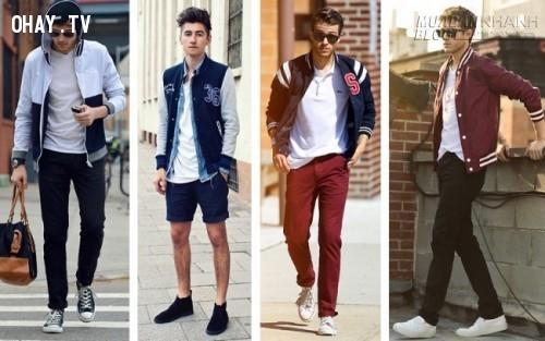 Trẻ trung với concept áo nỉ bóng chày.,nam thần,thời trai,thời trang nam,mặc đẹp