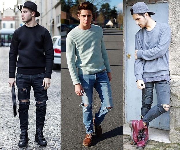 Bụi bặm tạo điểm nhấn bởi quần jean rách cựa chất và áo len.,nam thần,thời trai,thời trang nam,mặc đẹp