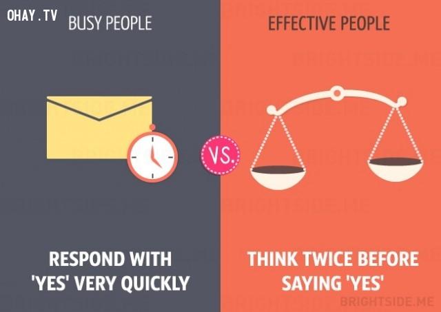 người bận rộn nói 'Có' rất nhanh chóng còn người hiệu quả suy nghĩ hai lần trước khi nói có,người bận rộn,làm việc hiệu quả,sự khác biệt