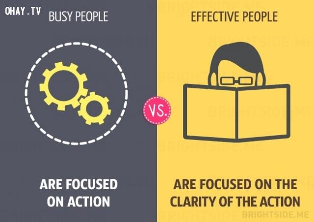 người bận rộn tập trung vào hành động còn người hiệu quả tìm hiểu rõ ràng trước khi hành động,người bận rộn,làm việc hiệu quả,sự khác biệt