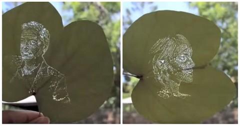 Kinh ngạc trước những bức ảnh chân dung được khắc trên lá
