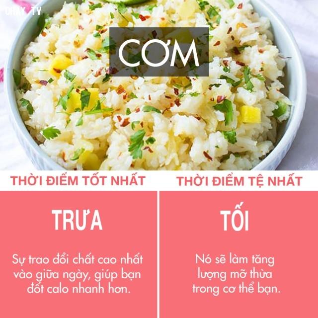 Cơm.,thực phẩm và thời điểm thích hợp,ăn uống điều độ