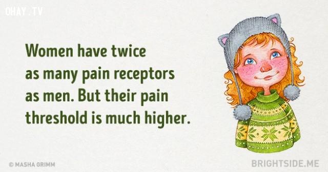 3. Phụ nữ có cơ quan thụ quan nhiều gấp 2 lần so với đàn ông. Nhưng ngưỡng chịu đau của họ lại cao hơn rất nhiều.,những điều thú vị trong cuộc sống,sự thật thú vị,sự thật đáng kinh ngạc
