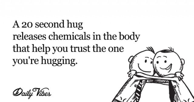 5. Một cái ôm chặt trong vòng 20 giây sẽ phóng thích các chất hóa học trong cơ thể giúp bạn tin tưởng người mình đang ôm.,sự thật thú vị,những điều thú vị trong cuộc sống,tâm lý học