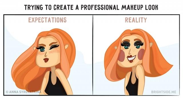 3. Nghĩ ra một kiểu makeup mới, cho rằng rất cá tính có khi thành xu hướng mới cũng nên. Nào ngờ trông thật lố và đi ngược thời đại.,ảnh vui,làm đẹp