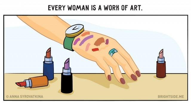8. Cô gái nào cũng sẽ giống một họa sĩ khi đi qua quầy thử mỹ phẩm.,ảnh vui,làm đẹp