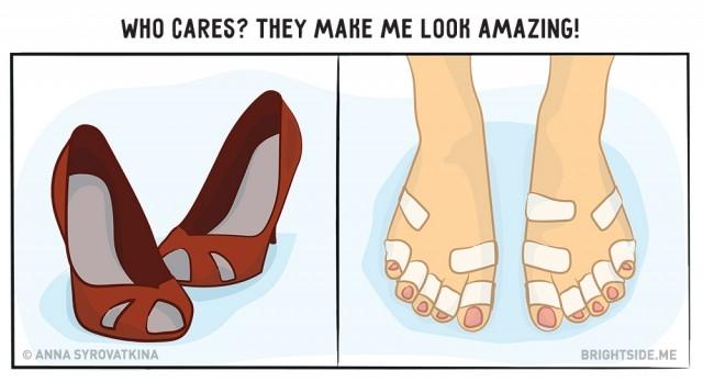 9. Dù đôi chân có phải băng bó thế nào, đôi giày cao gót vẫn luôn là vật bất ly thân.,ảnh vui,làm đẹp