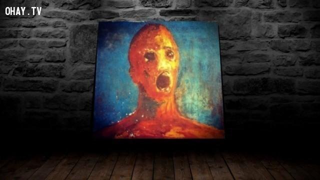 """5. Bức tranh """"Người đàn ông đau khổ"""",chuyện ma ám,câu chuyện ma ám khủng khiếp,ảnh ma ám,rùng rợn,ma quái,nguyền rủa"""