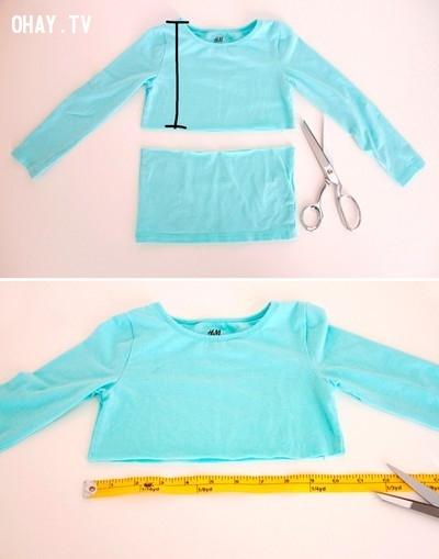 Đôi khi biến những chiếc áo phông đơn giản thành áo crop top trẻ trung cũng là một ý tưởng không tồi.,quần áo cũ,thời trang,con gái