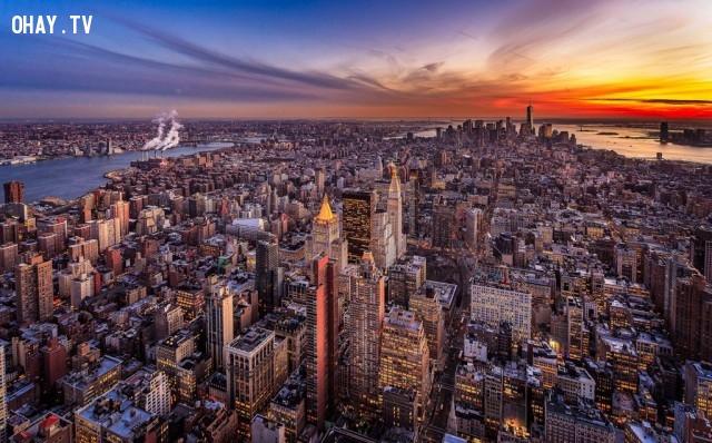 Hoàng hôn nhìn từ đỉnh của tòa nhà Empire State, thành phố New York, Hoa Kỳ,Tòa nhà cao nhất thế giới,những điểm cao nhất thế giới