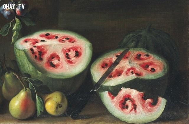 6. Đây là bức vẽ dưa hấu vào thế kỷ 17 của Giovanni Stanchi. Từ hình vẽ có thể thấy, phần ruột bên trong được chia thành 6 phần tam giác khá rõ rệt.,những sự thật thú vị,cây trồng,rau củ quả