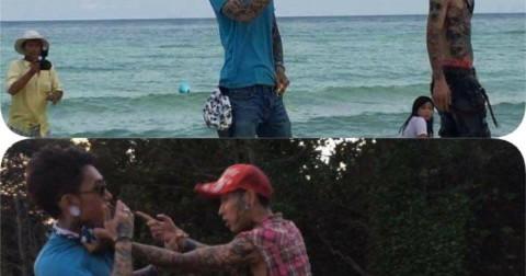 Hình ảnh về HBXT và Gà rừng tattoo quay clip PR cho nhau