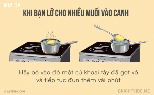Khi bạn lỡ cho nhiều muối vào canh,mẹo vặt,mẹo nhà bếp,mẹo nấu ăn