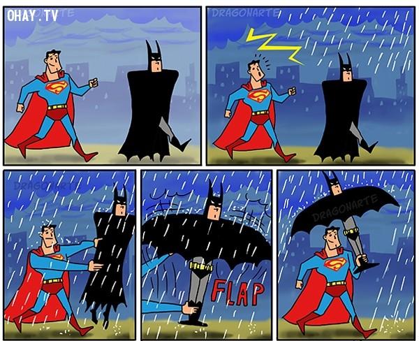 12. Siêu nhân và người dơi khi đi dạo cùng nhau thì kiểu gì cũng gặp chuyện xui xẻo như mưa chẳng hạn,siêu anh hùng,ảnh hài hước