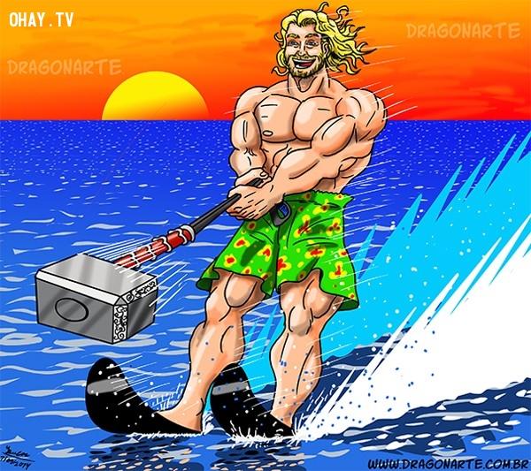 10. Thần sấm Thor thỉnh thoảng cũng đi lướt sóng,siêu anh hùng,ảnh hài hước