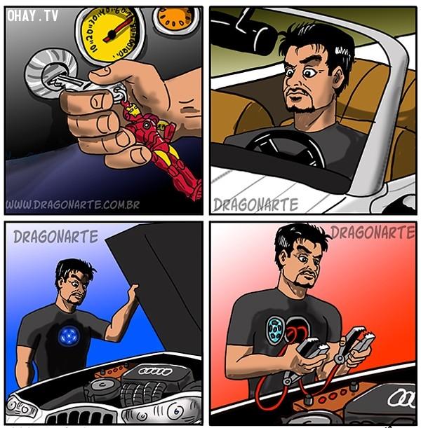11. Iron man cũng có lúc phải tự mình sửa xe thế này,siêu anh hùng,ảnh hài hước