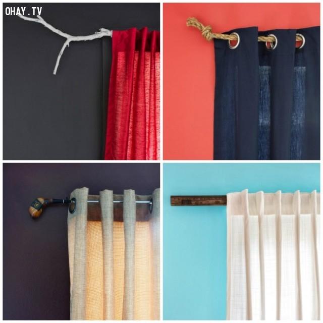 Có thể dùng nhiều loại vật liệu khác nhau làm thanh treo rèm cửa tạo điểm nhấn độc đáo trong nhà bạn.,trang trí nhà,mẹo trang trí