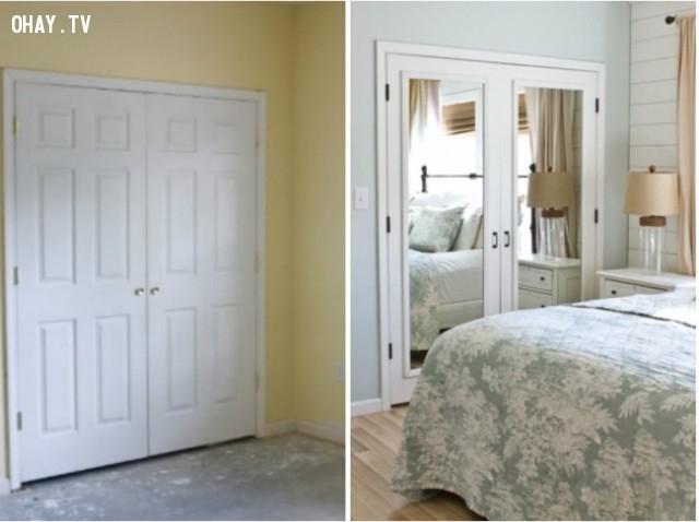 Gương cho ảo giác về không gian khiến căn phòng trông rộng hơn.,trang trí nhà,mẹo trang trí
