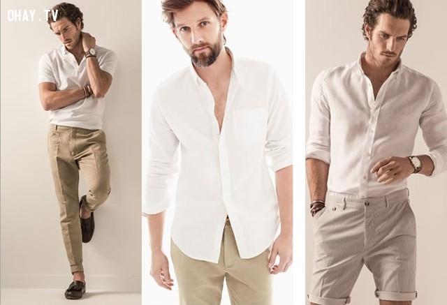 3. Sử dụng trang phục sáng màu như trắng, be hoặc pastel ,trang phục ngày hè,nam