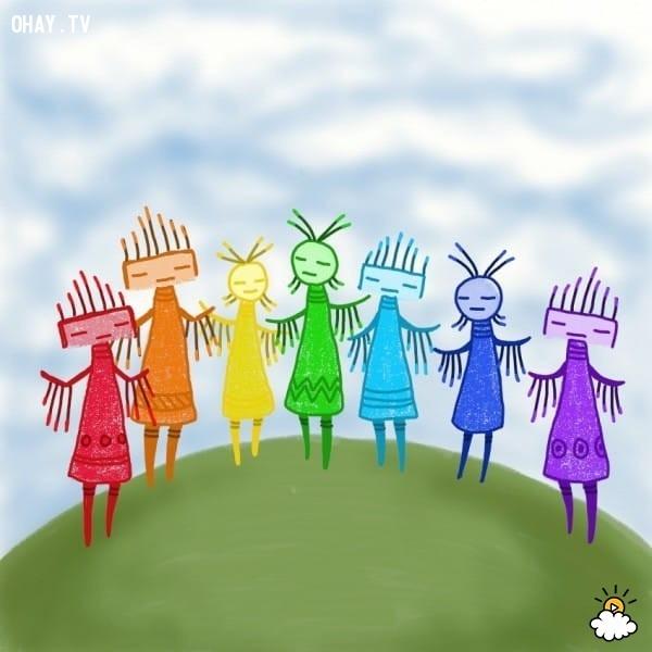 Xưa lắm rồi, các màu sắc bắt đầu nổ ra một cuộc tranh cãi lớn. Màu nào cũng cho rằng mình là tốt nhất, quan trọng nhất, hữu dụng nhất và được yêu thích nhất,sự tích cầu vồng,tình bạn,sự tôn trọng,suy ngẫm