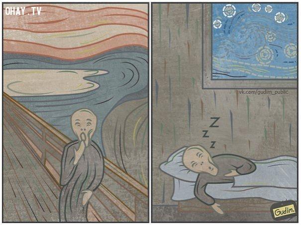 Đứng đó ngáp mãi cũng chán, tôi đi ngủ đây!,ảnh biếm họa,Anton Gudim,những điều thú vị trong cuộc sống