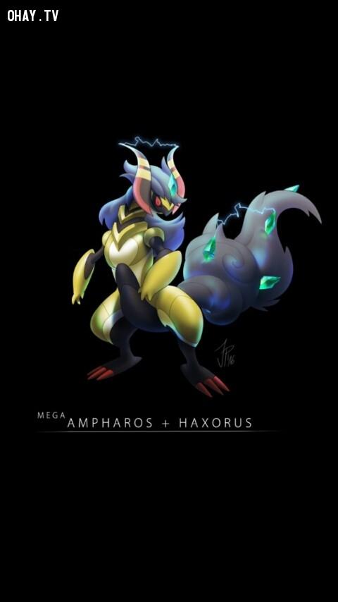 Mega Ampharos + Haxorus,pokemon