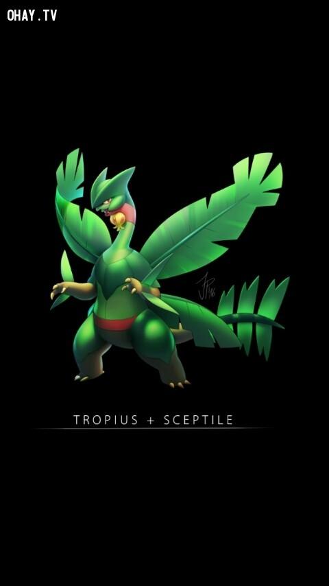 Sceptile + Tropius,pokemon