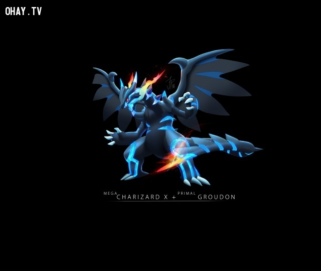 Mega Charizard + Groudon,pokemon