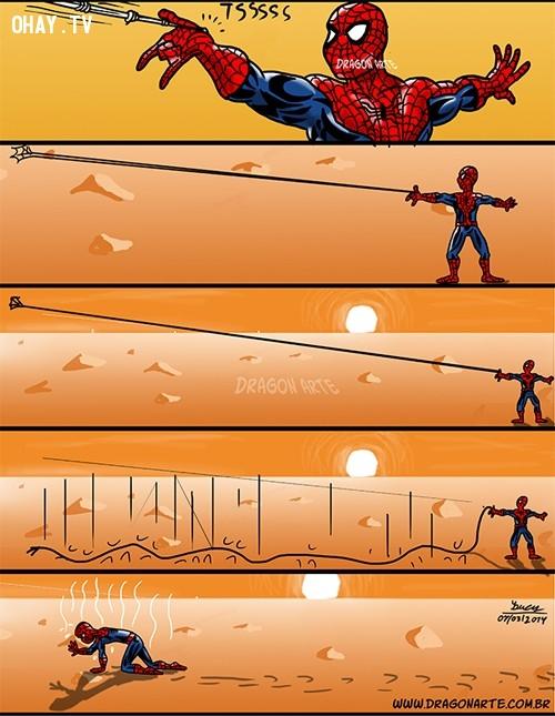 7. Nỗi khổ khi phóng tơ nhện trên sa mạc,siêu anh hùng,người Nhện,ảnh hài hước