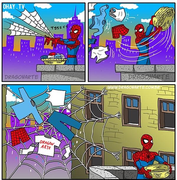 8. Cách người Nhện phơi quần áo cũng rất là độc đáo,siêu anh hùng,người Nhện,ảnh hài hước
