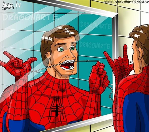 4. Tận dụng tơ nhện để xỉa răng,siêu anh hùng,người Nhện,ảnh hài hước