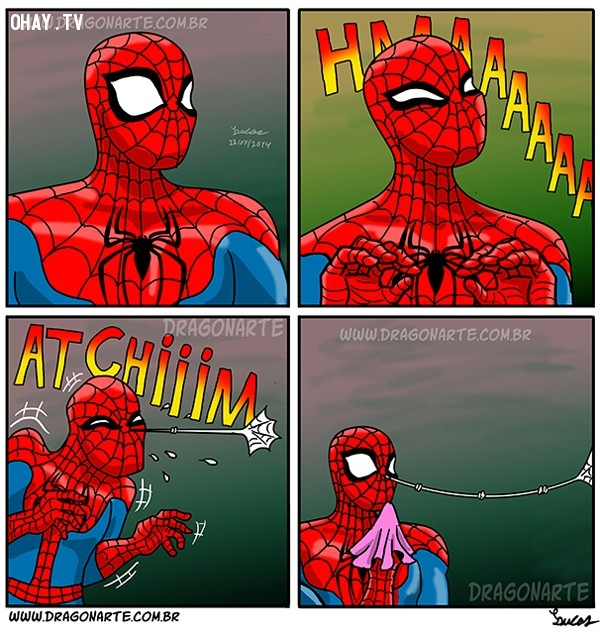 2. Đây là khi người Nhện bị hắt xì,siêu anh hùng,người Nhện,ảnh hài hước