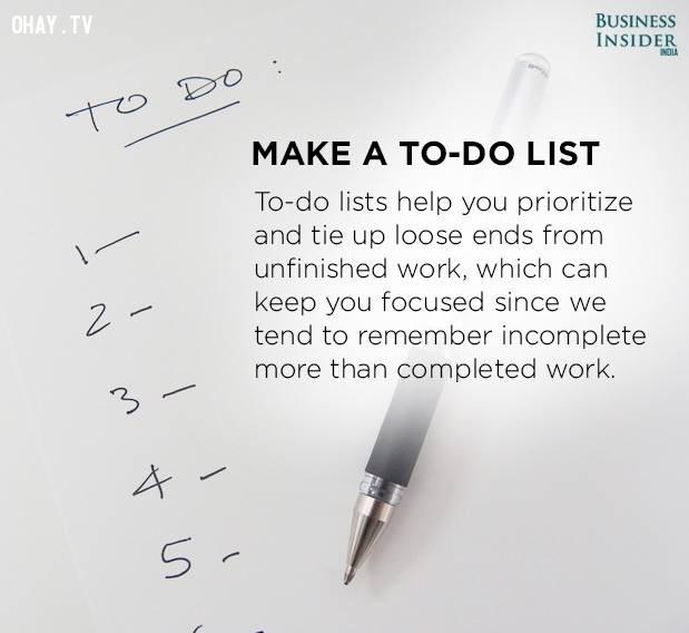 4. Lập danh sách các việc phải làm,tập trung,phân tâm,khả năng tập trung,cách làm việc tập trung