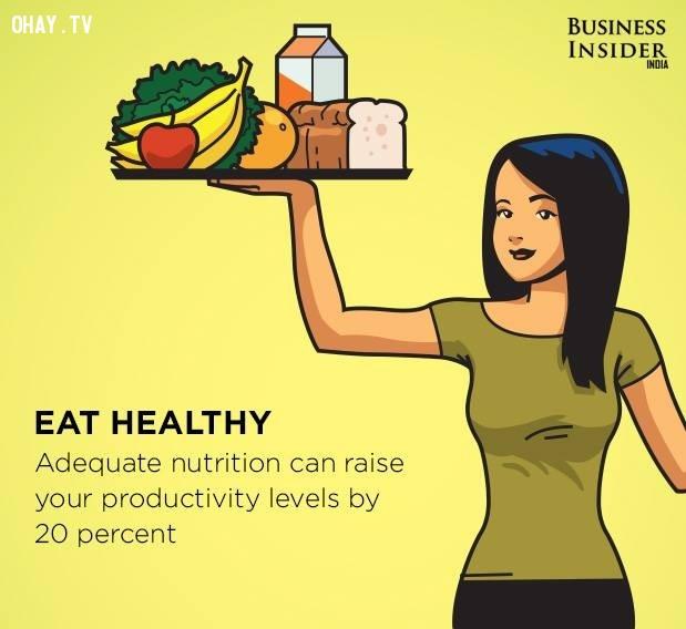 1. Ăn uống lành mạnh,làm việc hiệu quả,thúc đẩy năng suất,gia tăng năng suất,làm việc năng suất,năng suất cao