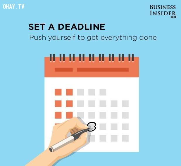 5. Thiết lập thời hạn,làm việc hiệu quả,thúc đẩy năng suất,gia tăng năng suất,làm việc năng suất,năng suất cao