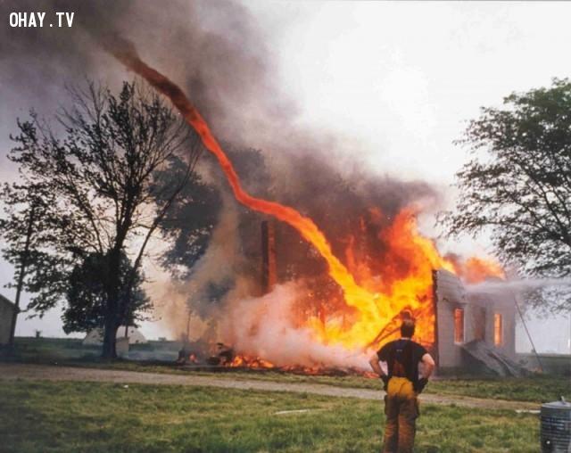 Lốc xoáy lửa vừa đi qua nhà anh ấy ư!,hình ảnh hài hước,ảnh đẹp,ảnh chụp đúng thời điểm