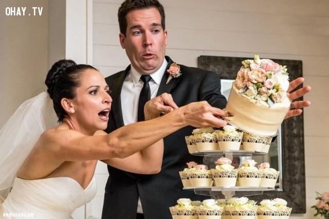 Úi chà! Phải cẩn thận chứ cô dâu, chú rể.,hình ảnh hài hước,ảnh đẹp,ảnh chụp đúng thời điểm
