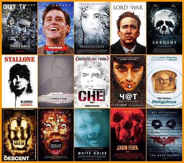 Công thức 2: ghép các chi tiết phim (hoặc các khuôn mặt nhỏ) thành hình khuôn mặt trung tâm ở poster. Kiểu thiết kế này đòi hỏi sáng tạo, tỉ mỉ và gây tò mò cho khán giả.,phim ảnh,poster phim,nghệ thuật quảng cáo