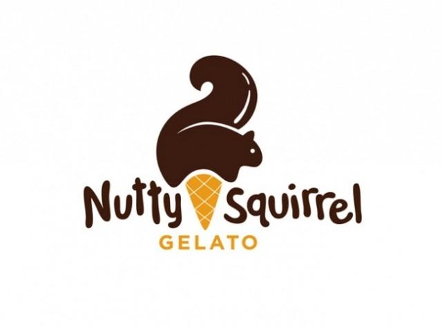"""Kem """"Nutty Squirrel"""". Bạn nỡ """"ăn"""" chú sóc này không?,logo thông minh,logo sáng tạo,ý tưởng thiết kế,logo ý nghĩa"""