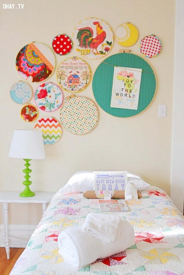 5. Những bức tranh thêu,trang trí tường nhà,trang trí tường phòng khách,sáng tạo,mẹo vặt,mẹo hay