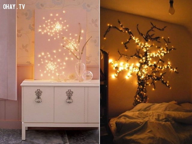 3. Ánh sáng cổ tích,trang trí tường nhà,trang trí tường phòng khách,sáng tạo,mẹo vặt,mẹo hay