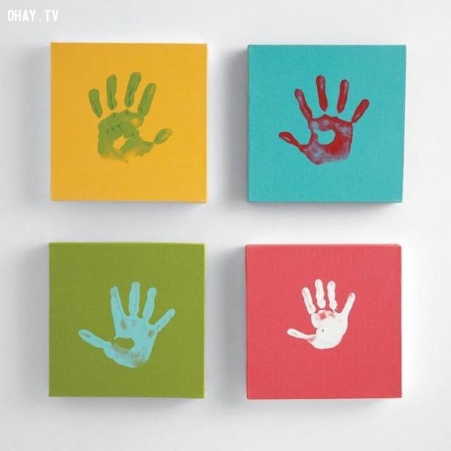 6. Những dấu vân tay đầy sắc màu,trang trí tường nhà,trang trí tường phòng khách,sáng tạo,mẹo vặt,mẹo hay