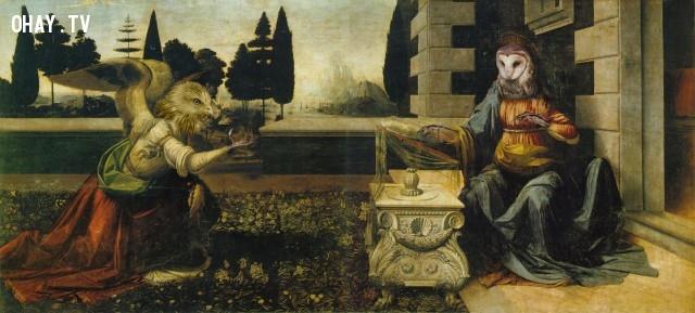 """2. """"Truyền Tin"""" (bản gốc của Leonardo da Vinci),động vật,tranh thời phục hưng,bức họa nổi tiếng"""