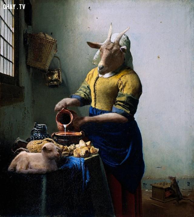 """11. """"Cô bán sữa"""" (bản gốc của Johannes Vermeer),động vật,tranh thời phục hưng,bức họa nổi tiếng"""