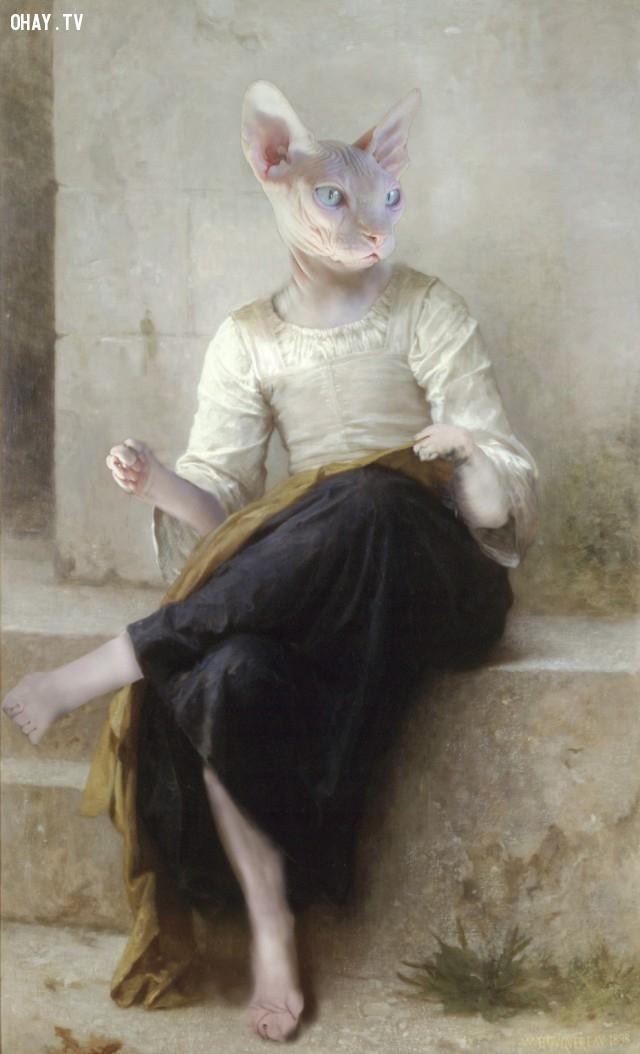 """8. """"Khâu"""" (bản gốc của William-Adolphe Bouguereau),động vật,tranh thời phục hưng,bức họa nổi tiếng"""
