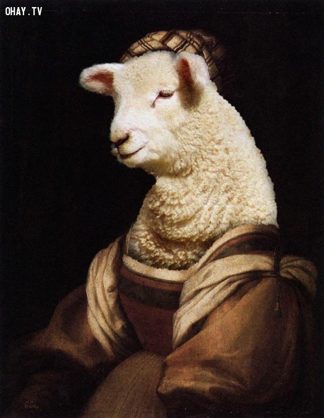 """""""Vợ của nghệ sĩ"""" (bản gốc của Andrea del Sarto),động vật,tranh thời phục hưng,bức họa nổi tiếng"""