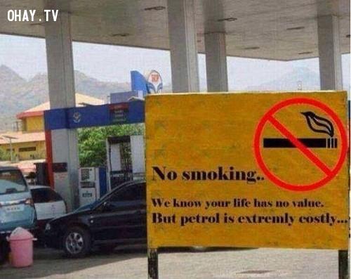 1. Cấm hút thuốc. Chúng tôi biết cuộc đời bạn thì không có giá trị. Nhưng cây xăng này thì cực kỳ giá trị.,ảnh hài hước,biển cấm