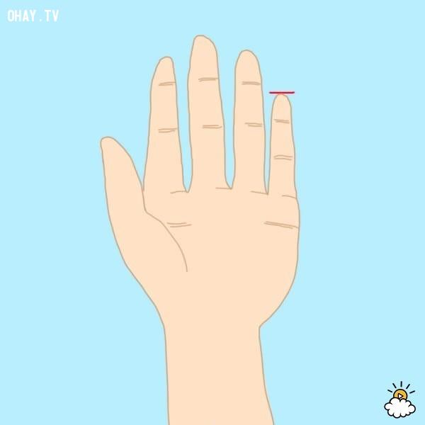 Kiểu 1: Ngón út ngắn hơn đốt đầu tiên của ngón tay đeo nhẫn,trắc nghiệm,đoán tính cách